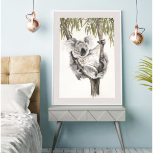 Textured ink and water colour artwork of an Australian Koala by Shannon Dwyer Artist