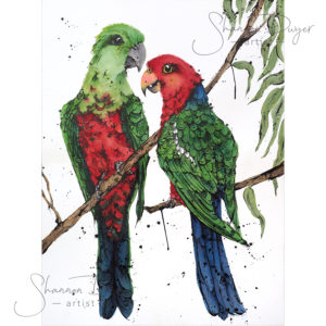 original art, Bird Art, Birds, Australian birds, bird artwork, animal art, animal artwork, wall art, home decor, home interiors, Australian interiors, Australian art, Australian, animal art, textured art, Australiana, watercolour painting, watercolor, unique wall art, handmade, shannon dwyer artist, King Parrots, King Parrot, Parrots