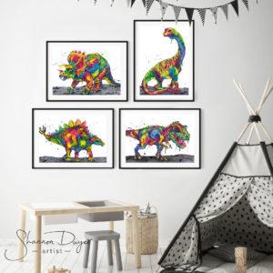 Dinosaurs, rainbow dinosaurs, t-rex, triceratops, stegasaurus, nursery decor, nursery wall art, kids decor, kids room, rainbow art, Australian art, Australian art prints, giclée prints, high-grade art print, animal art, wall art, art prints, Australiana, watercolour painting, watercolor, unique wall art, handmade