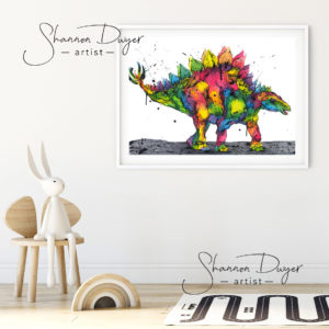 Dinosaurs, rainbow dinosaurs, t-rex, triceratops, stegasaurus, nursery decor, nursery wall art, kids decor, kids room, rainbow art, Australian art, Australian art prints, giclée prints, high-grade art print, animal art, wall art, art prints, Australiana, watercolour painting, watercolor, unique wall art, handmade